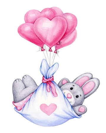 Cute  baby rabbit cartoon with balloons, isolated on white.