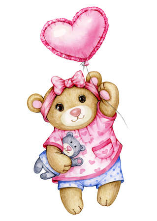 Cute  baby  Teddy bear cartoon with balloon, isolated on white. Фото со стока