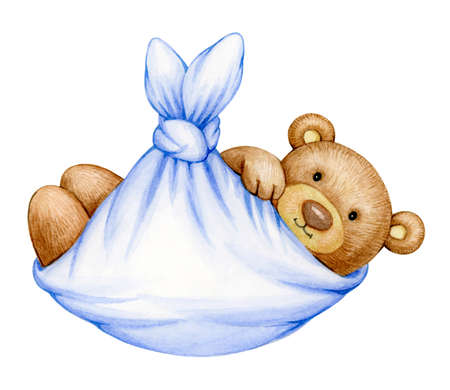Cute  baby  Teddy bear cartoon  in blanket, isolated on white.