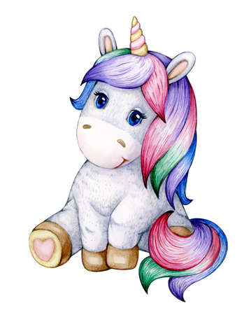 Cute  sitting baby unicorn cartoon, isolated on white. Фото со стока