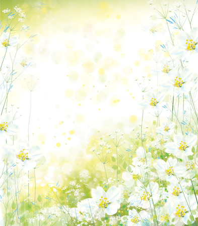 Vector floral background. Spring background. Archivio Fotografico - 122797724