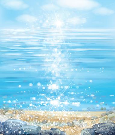 Vector  ocean with blue  sky, sandy beach and stones.