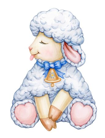 Cute,  sitting, baby  sheep cartoon, isolated on white. Watercolor.