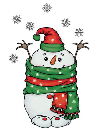 Vector  happy  snowman cartoon, isolated on white.
