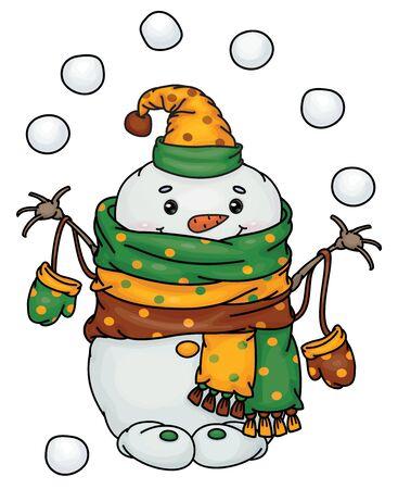 Fumetto felice del pupazzo di neve di vettore che gioca a palle di neve, isolato su bianco.