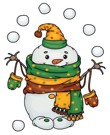 Vector happy snowman cartoon playing snowballs, isolated on white.