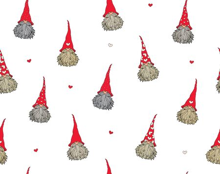 Vector  cute gnomes cartoons seamless pattern,  isolated on white.