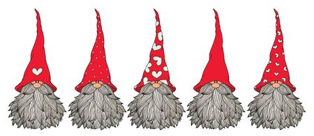 Vector  cute gnomes cartoons,  isolated on white.