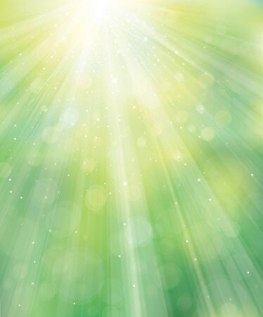 Vector green background with rays and lights. Ilustración de vector