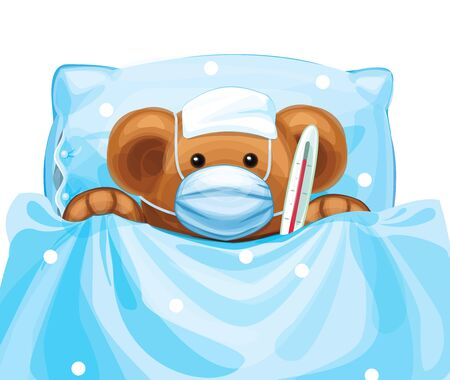 Vector  baby bear cartoon in mask and with thermometer in bed, isolated.