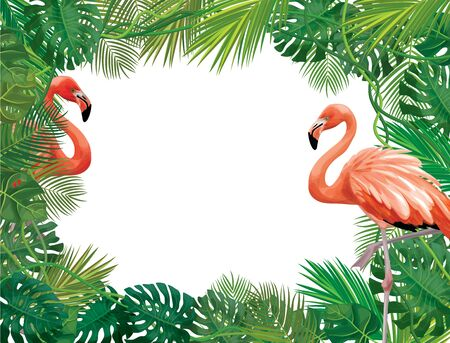 Vectot floral  frame,  tropical leaves  and flamingos isolated. Иллюстрация
