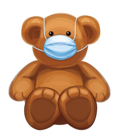 Vector  baby bear cartoon in mask, isolated.