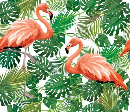 Seamless tropical  floral pattern, exotic leaves  and flamingos, isolated.