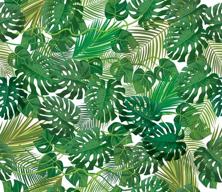 Seamless tropical, exotic leaves pattern, isolated.