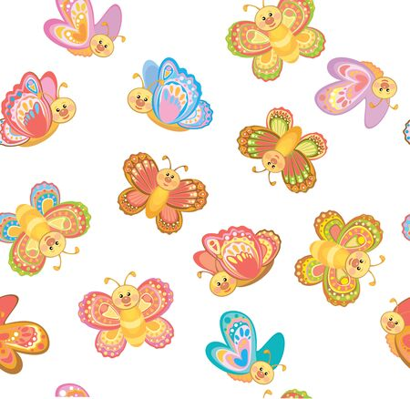 Vector cute butterflies seamless pattern,  isolated.