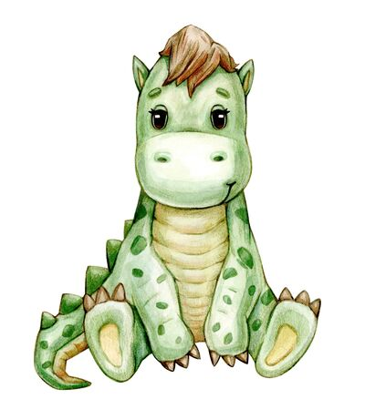 Cute  dinosaur  cartoon, isolated on white. Watercolor illustration. Фото со стока
