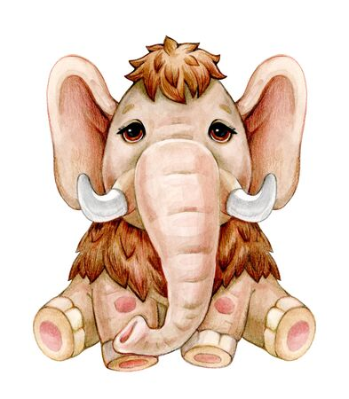 Cute  mammoth  cartoon, isolated on white. Watercolor illustration.