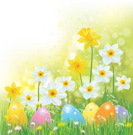 Vector Easter eggs in grass and daffodils, Easter background. Иллюстрация