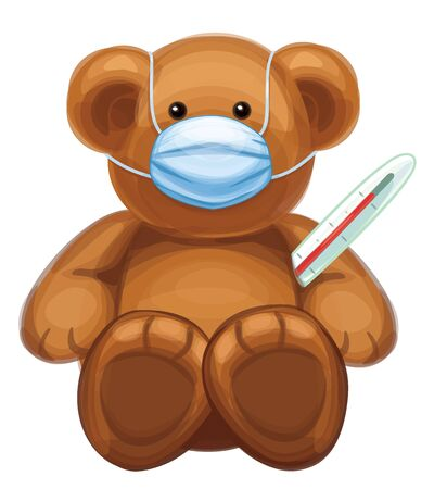 Vector  baby bear cartoon in mask and with thermometer, isolated.
