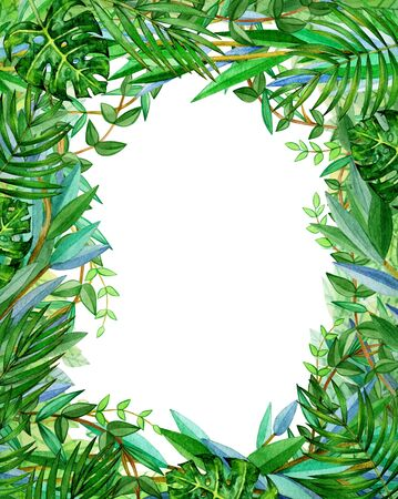 Tropical leaves floral frame, isolated.