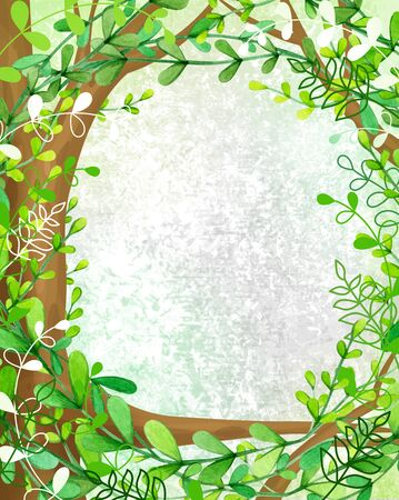 Green tree background, illustration.