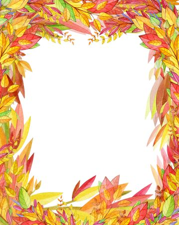 Autumnal frame, colorful autumnal leaves, watercolor illustration, isolated on white.