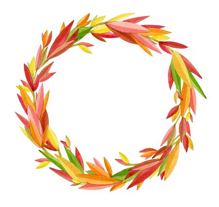 Autumnal colorful leaves frame,  abstract round frame, isolated on white. Watercolor illustration.