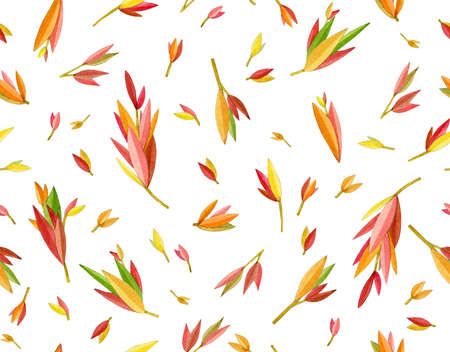 Seamless pattern colorful, autumnal  leaves,  isolated on white. Abstract leaves background. Watercolor illustration. Фото со стока