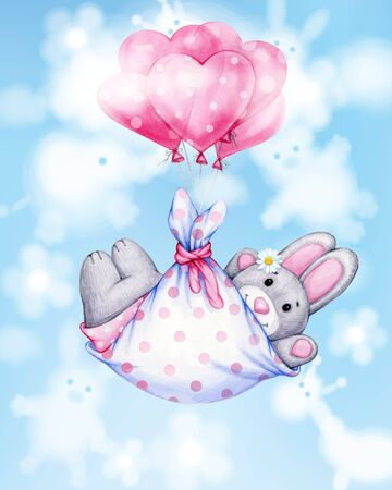 Cute  baby rabbit cartoon with balloons. Greeting card for baby girl.