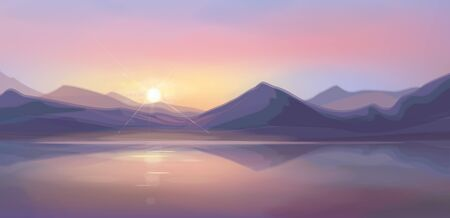 Vector   sea scene sunset,   mountains  background.