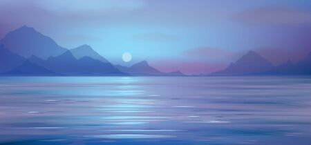Vector blue sea scene with mountains  background.