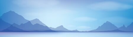 Vector blue mountains  background.