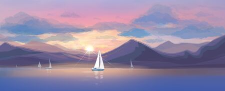 Vector  sunset sea scene and yachts.
