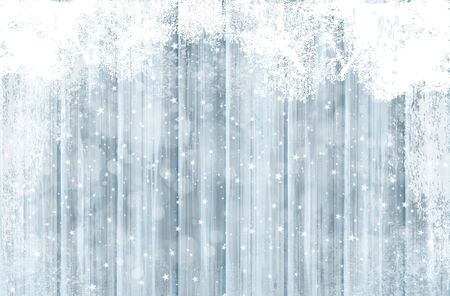 Vector grey wooden texture  background covered by snow for Christmas design. Winter background.