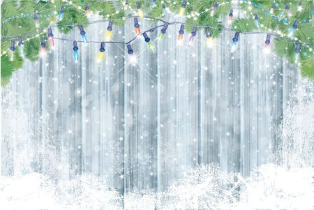Vector wooden board covered by snow  and  decorated by fir branches  for Christmas design. Wnter background.