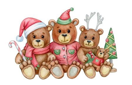 Cute  bears family. Greeting card for Christmas holidays design. Watercolor illustration.