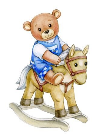 Cute  baby bear  riding horse. Greeting card for baby boy. Watercolor illustration.