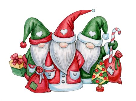 Christmas cute gnomes cartoons, isolated on white. Merry Christmas greeting card. Watercolor illustration. Фото со стока