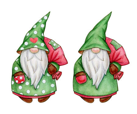 Christmas cute gnome  cartoons, isolated on white. Merry Christmas! Watercolor illustration.