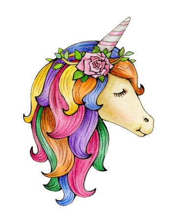 Cute, magic unicorn portrait, isolated on white. Watercolor illustration.