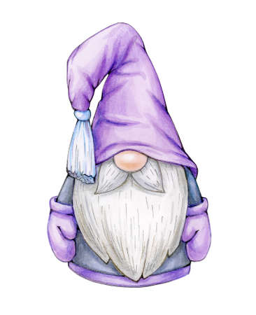 Christmas  gnome  cartoon, isolated on white. Merry Christmas! Watercolor illustration.