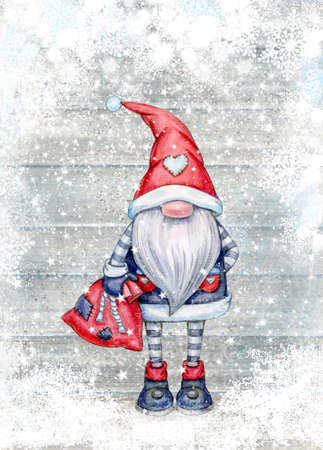 Christmas  gnome  cartoons, greeting card for winter holidays. Merry Christmas greeting card. Фото со стока
