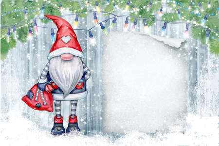 Christmas  gnome  cartoon, greeting card for winter holidays. Merry Christmas greeting card.