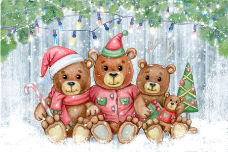 Cute  bears family. Greeting card for Christmas holidays design. Фото со стока