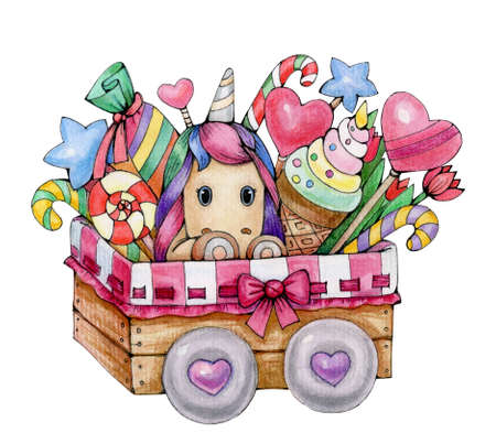 Cute unicorn  with sweets in box, isolated on white. Watercolor illustration.