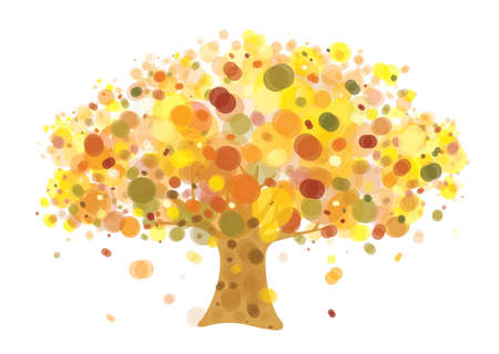 Vector  abstract autumnal tree isolated.