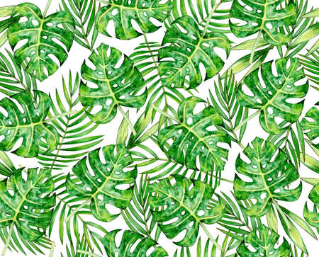 Tropical leaves seamlees pattern, isolated on white. Watercolor illustration.