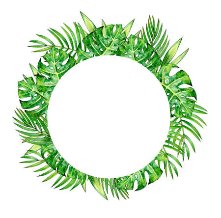 Tropical leaves circle frame, isolated on white. Watercolor illustration. Фото со стока