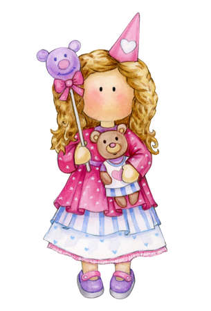 Cute girl holding Teddy  and balloon, isolated on white. Watercolor illustration. Фото со стока