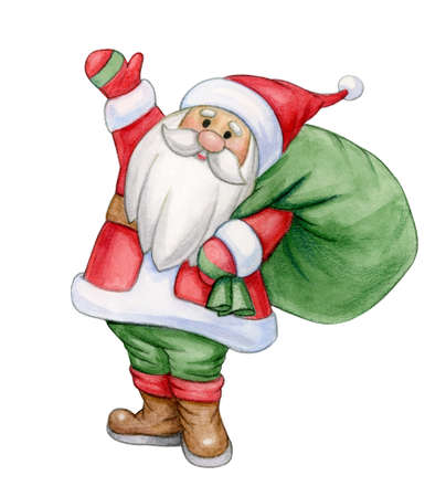 Santa Claus holding a bag with presents, isolated on white. Watercolor illustration.